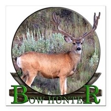 """bow hunter, trophy buck. Square Car Magnet 3"""" x 3"""""""