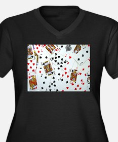 Playing Cards Women's Plus Size V-Neck Dark T-Shir