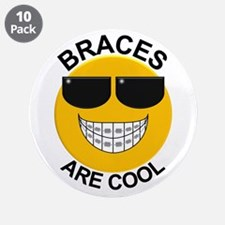 """Braces Are Cool / Sunglasses 3.5"""" Button (10 pack)"""
