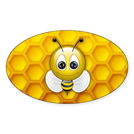 Bee Oval Sticker