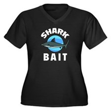 Shark Bait Women's Plus Size V-Neck Dark T-Shirt