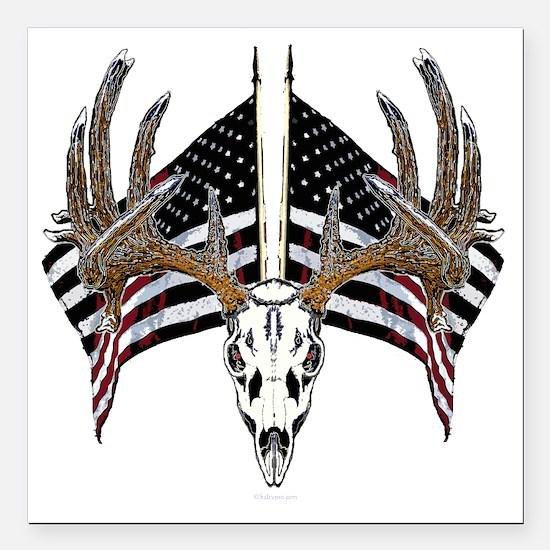 "Whitetail, USA flag Square Car Magnet 3"" x 3"""