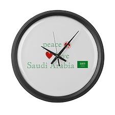 Peace Love & Saudi Arabia Large Wall Clock