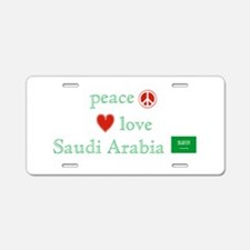 Peace Love & Saudi Arabia Aluminum License Plate