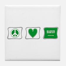 Peace Love & Saudi Arabia Tile Coaster
