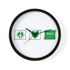 Peace Love & Saudi Arabia Wall Clock