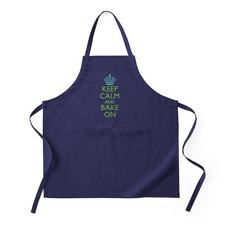 Keep Calm Bake On Blue Green Apron (dark)