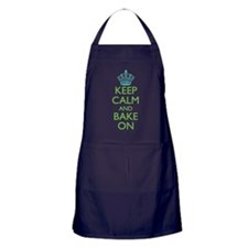 Keep Calm Bake On Blue Green Apron (dark)