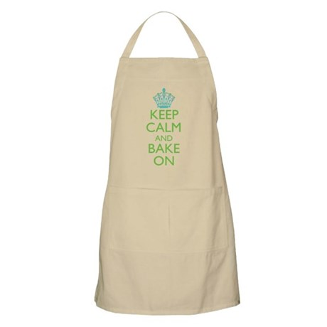 Keep Calm Bake On Blue Green Apron