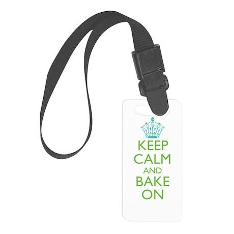Keep Calm Bake On Blue Green Small Luggage Tag