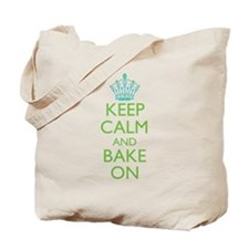 Keep Calm Bake On Blue Green Tote Bag