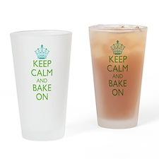 Keep Calm Bake On Blue Green Drinking Glass