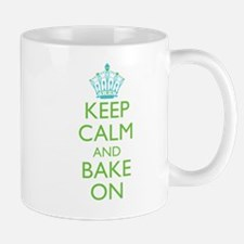 Keep Calm Bake On Blue Green Mug