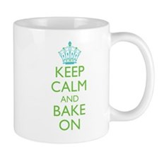 Keep Calm Bake On Blue Green Small Mug