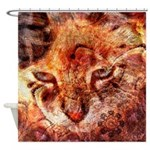 Wood Cat Shower Curtain