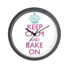 Keep Calm and Bake On Wall Clock