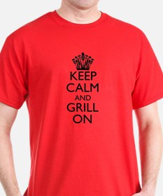 Keep Calm and Grill On - Black T-Shirt