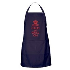 Keep Calm and Grill On Red Logo Apron (dark)