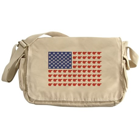 Polar Bear American Flag Messenger Bag