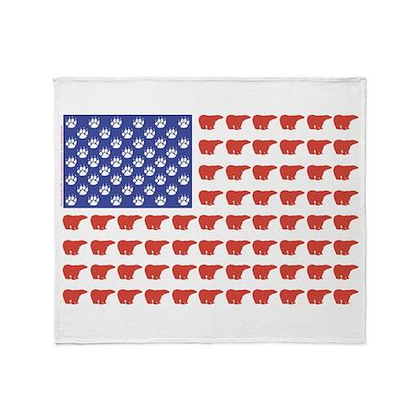 Polar Bear American Flag Throw Blanket