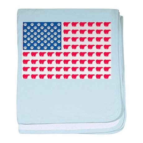 Polar Bear American Flag baby blanket