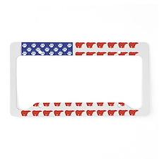 Polar Bear American Flag License Plate Holder