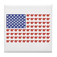 Polar Bear American Flag Tile Coaster