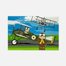 Airforce Pilots and Biplanes Rectangle Magnet
