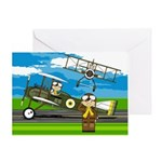 Airforce Pilots and Biplanes Greeting Card