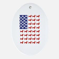 USA Patriotic Dachshund Ornament (Oval)
