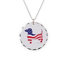 Patriotic Wiener Dachshund Necklace Circle Charm