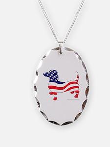 Patriotic Wiener Dachshund Necklace