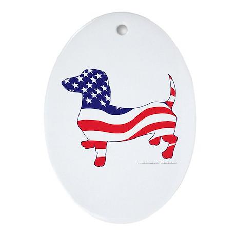 Patriotic Wiener Dachshund Ornament (Oval)