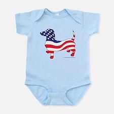 Patriotic Wiener Dachshund Infant Bodysuit