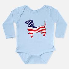 Patriotic Wiener Dachshund Long Sleeve Infant Body