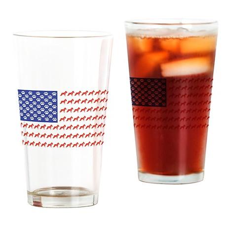 USA Schnauzer Dog Flag Drinking Glass