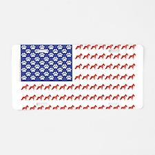 USA Schnauzer Dog Flag Aluminum License Plate