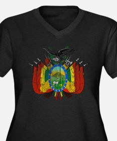 Bolivia Coat Of Arms Women's Plus Size V-Neck Dark