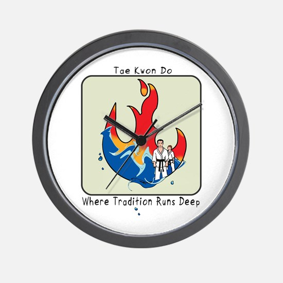 Tae Kwon Do Fire and Water 2 Wall Clock