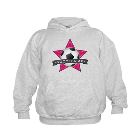 Pink Soccer Star Stitched Kids Hoodie