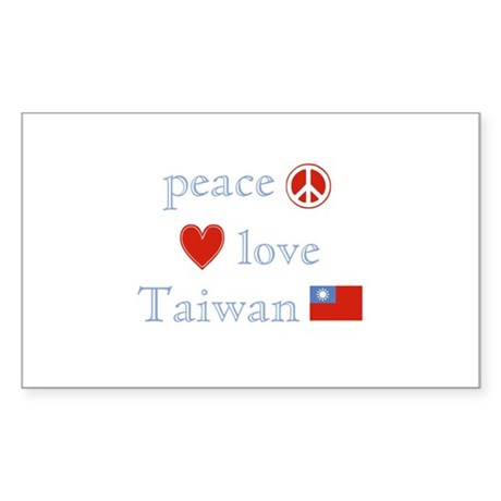 Peace Love and Taiwan Sticker (Rectangle)