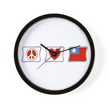 Peace Love and Taiwan Wall Clock