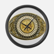 Indian gold oval 1 Large Wall Clock