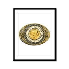 Indian gold oval 1 Framed Panel Print