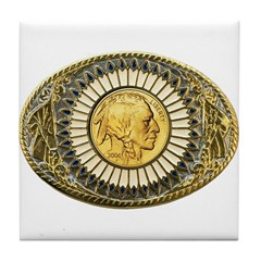 Indian gold oval 1 Tile Coaster