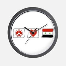 Peace Love and Syria Wall Clock