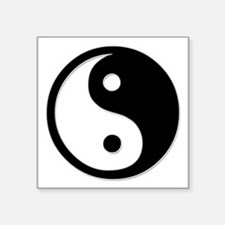 "Black Yin Yang Square Sticker 3"" x 3"""