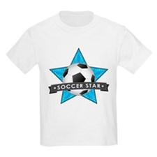 Blue Soccer Star Stitched T-Shirt