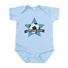 Blue Soccer Star Stitched Infant Bodysuit
