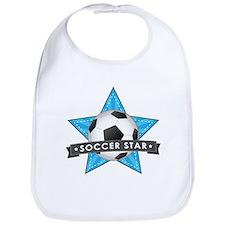 Blue Soccer Star Stitched Bib